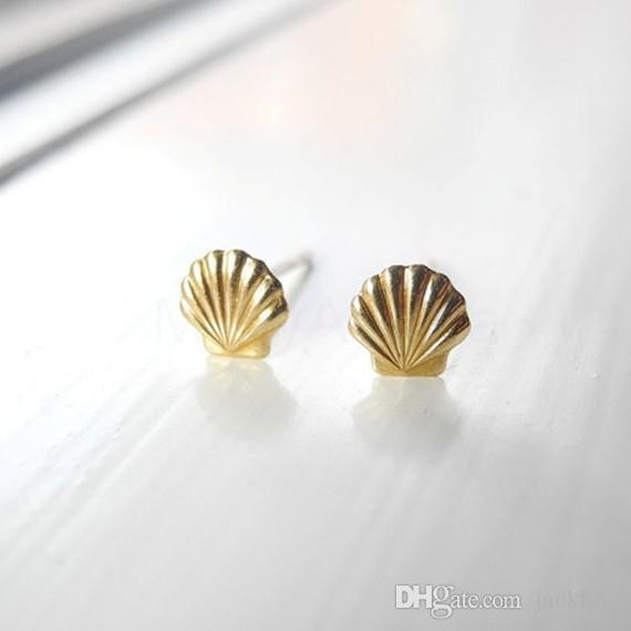 10Pair Gold Silver Sea Clam Shell Orecchini Seashell Orecchini a conchiglia Beach Conch Orecchini Nautical Ariel Mermaid Studs Jewelry