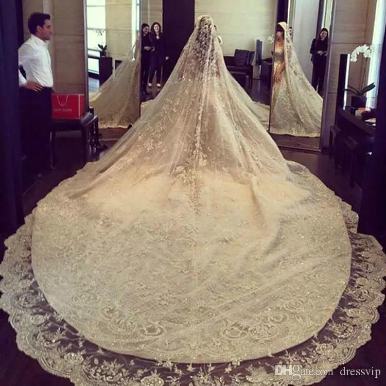 Luxury Ivory 3M Long Rhinestones Cathedral Wedding Veils With Lace Applique Trim Crystals One Layer Tulle Sequined Bridal Veil With Comb