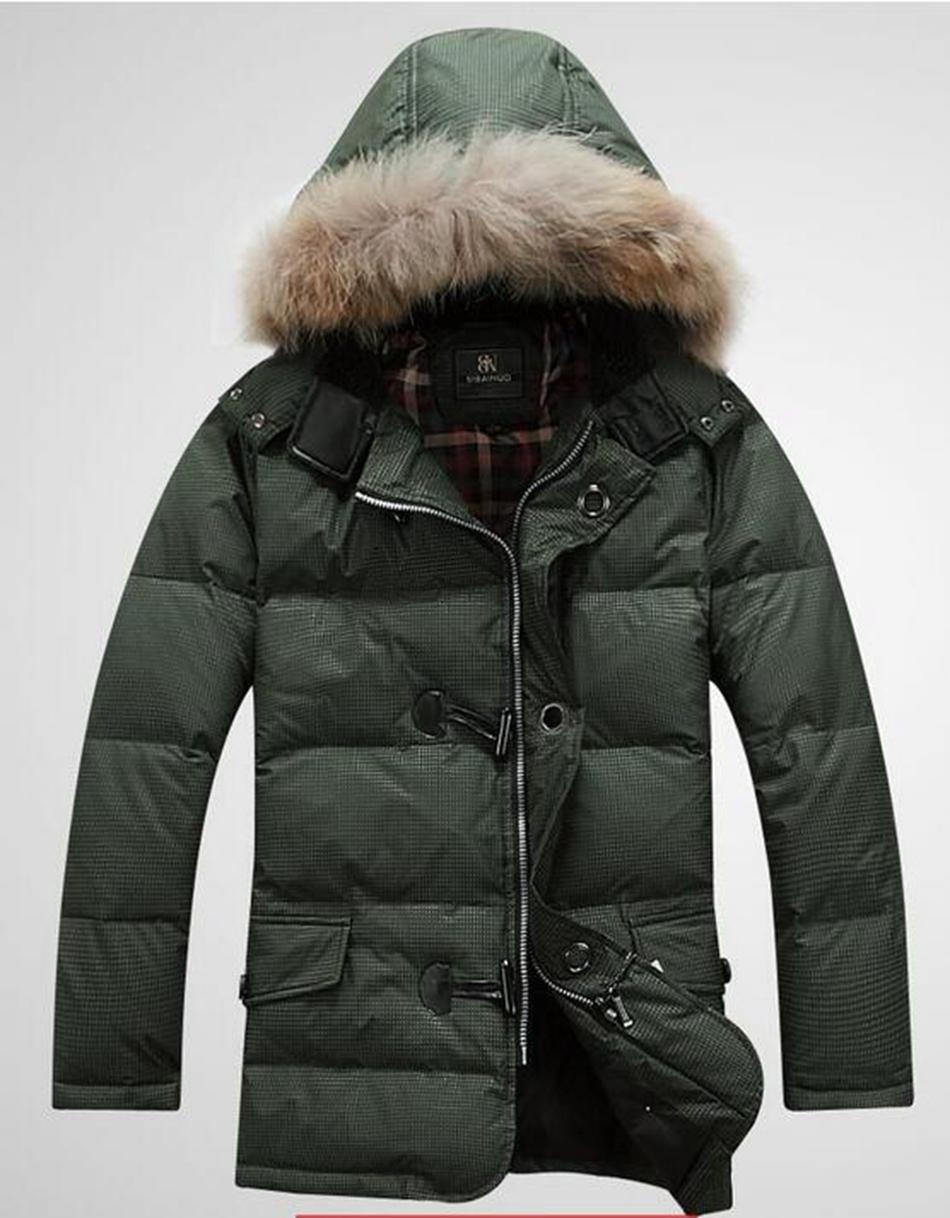 Neue Männer im Freien authentischer kultivieren Sie Ihre Moral in der warmen warmen Kapuzen lange Daunenjacke Mantel L-3xl