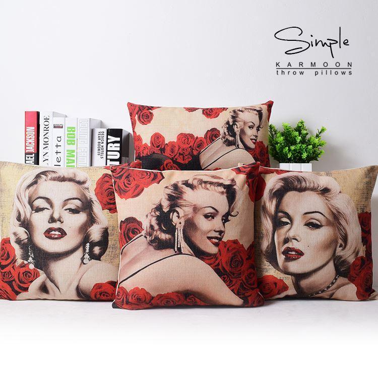 European Vintage Rose Monroe Pillow Flowers Rose P...