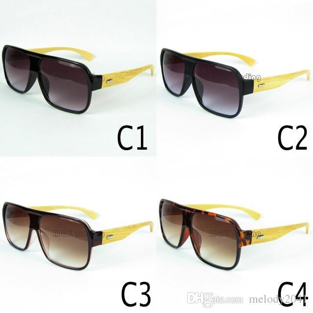 Trä solglasögon naturlig bambu glasögon solglasögon pilot stil stor ram handgjorda trä tempel 12st / lot