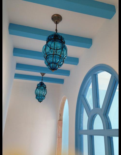 Mediterraan balkon glas hanglamp pompoen vorm romantische slaapkamer opknoping lampen eetkamer corridor plafond hanglamp