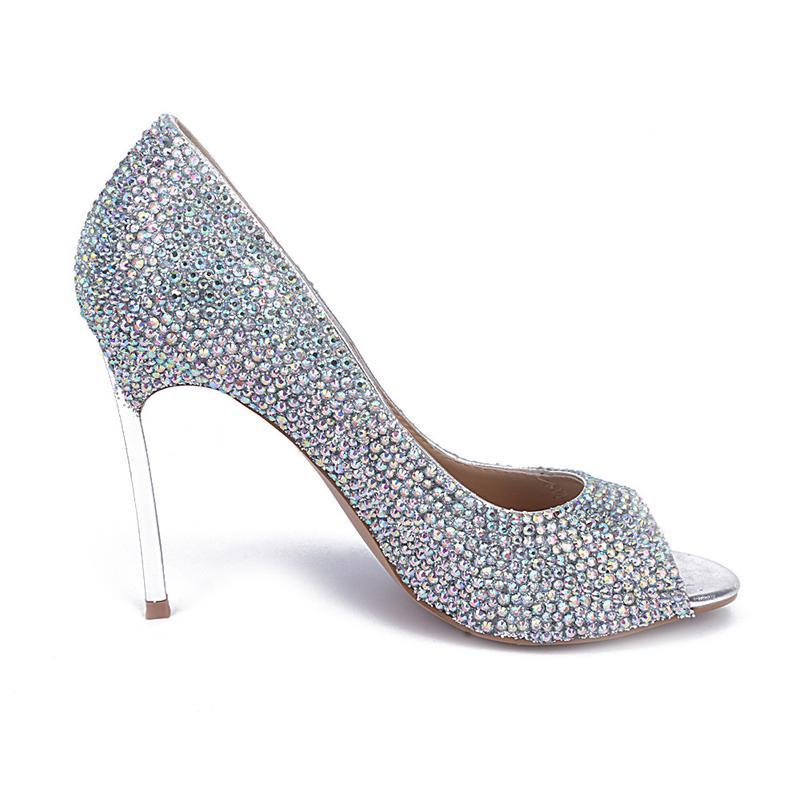 Neue Ankunft Strass Hochzeit Schuhe Peep Toe Pfennigabsatz Sandalen Echtes Leder OL High Heels AB Farbe Kristall Prom Schuhe