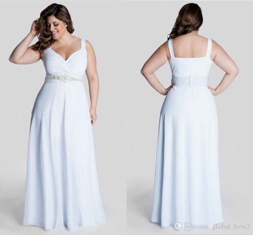 Discount 2016 Romantic Plus Size Wedding Dresses Beaded Bodice Quality Boho V Neck Spaghetti Strap Dress Casual Empire Beach Gowns Bride