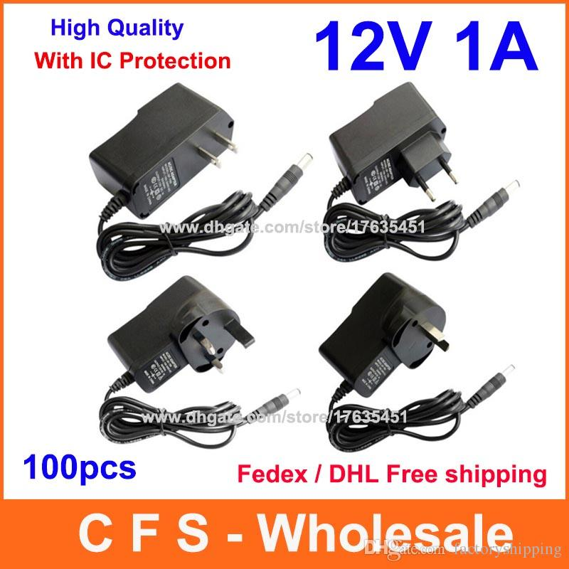100pcs High Quality AC 100-240V to DC 12V 1A Power adapter Supply US / EU / UK / AU Plug with IC Program DHL Free shipping