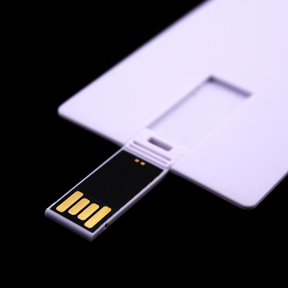 100PCS 128MB/256MB/512MB/1GB/2GB/4GB/8GB/16GB Credit Card USB Drive 2.0 Memory Flash Pendrives Stick Blank White Suit for Logo Print