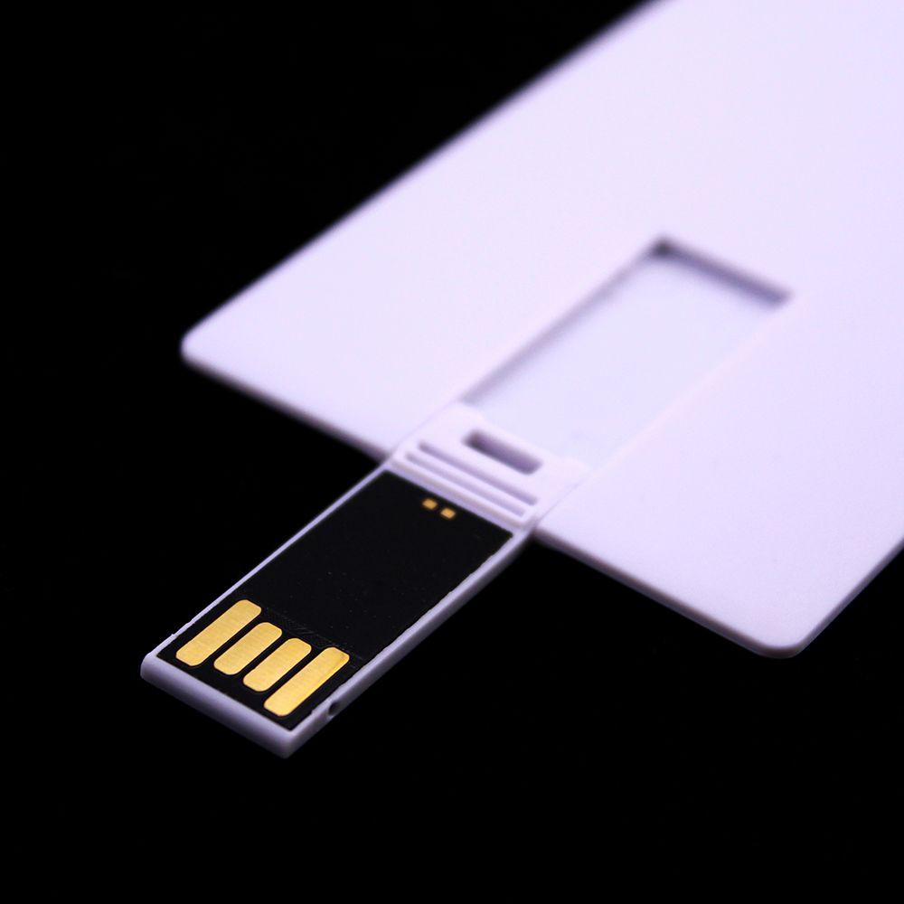 100PCS 128MB / 256MB / 512MB / 1GB / 2GB / 4GB / 8GB / 16GB بطاقة الائتمان USB محرك 2.0 ذاكرة فلاش pendrives عصا دعوى بيضاء فارغة لطباعة الشعار