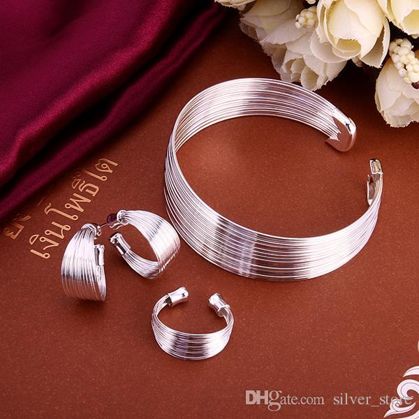 عالية الجودة 925 فضة مجموعة متعددة خط سوار مجموعات مجوهرات DFMSS312 العلامة التجارية الجديدة المصنع مباشرة بيع 925 الفضة سوار القرط الدائري