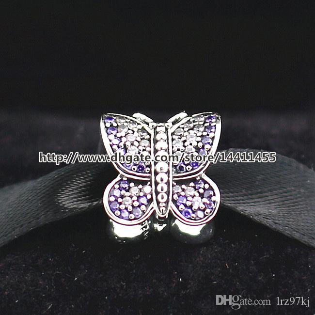 925 Sterling Silver Thread Sparkling Butterfly Charm Bead with CZ Fits European Style Jewelry Bracelets Necklaces & Pendants