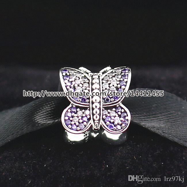 Ciondolo farfalla scintillante filo d'argento 925 con perline CZ adatto per gioielli stile europeo bracciali collane pendenti