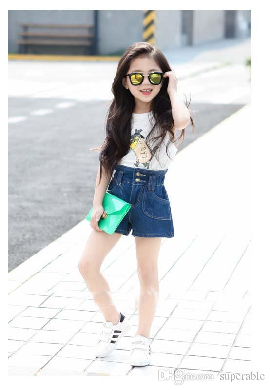 2015 Summer Girl Children Prussian Blue Fashionable High Waist ...