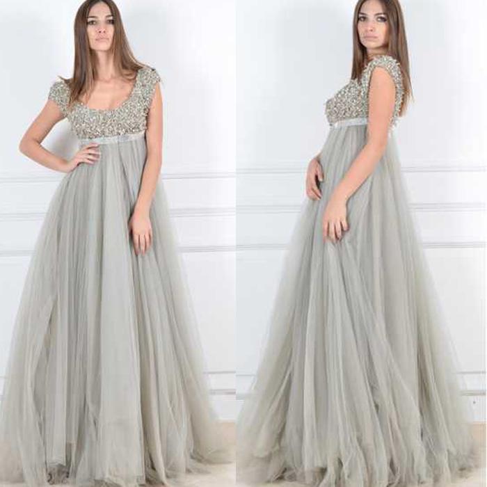 Nach Maß 2015 Plus Size Formale Abendkleider A Line Capped Kurzarm Reich Mutterschaft Kleid Scoop Neck Zipper Bodenlangen Langes Kleid