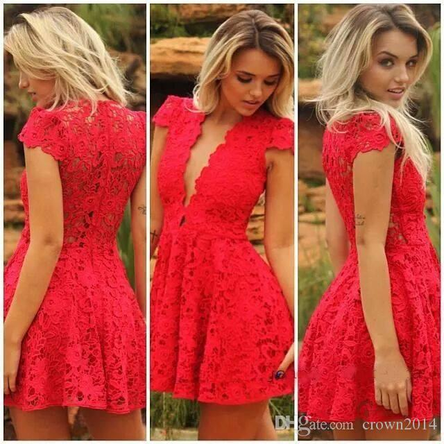 2019 Cheap V Neck Red Sexy Short Evening Dresses Cap Sleeves Real Simple Special Occasion Cocktail Lace Party Prom Dresses