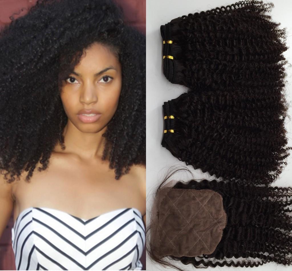 Braziliaanse Kinky Krullend Haarbundels met Silk Sluiting 10-24 '' 8A onbewerkt Braziliaanse Virgin Haar Krullend Golvende Extension Weeft 3pcs / lot