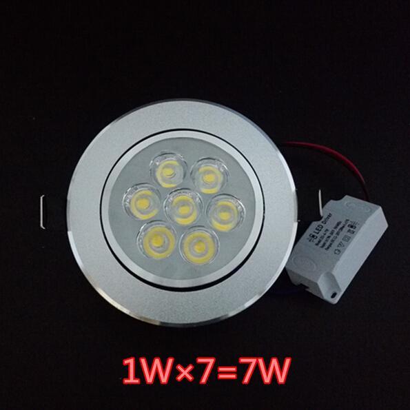 LED Downlights High Power LED Downlights 7W 7 * 1W 630LM AC85-265V Varm vit / kall vit Gratis frakt