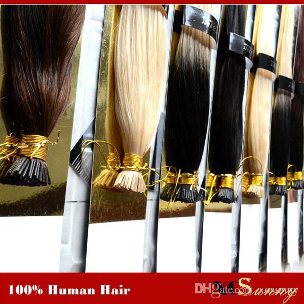 """XCSUNNY Extensiones de cabello con punta en I Extensiones de cabello humano con punta de queratina de 18 """"y 20"""" 100 g / paquete 1 g / s Extensiones de cabello liso y sedoso con punta"""