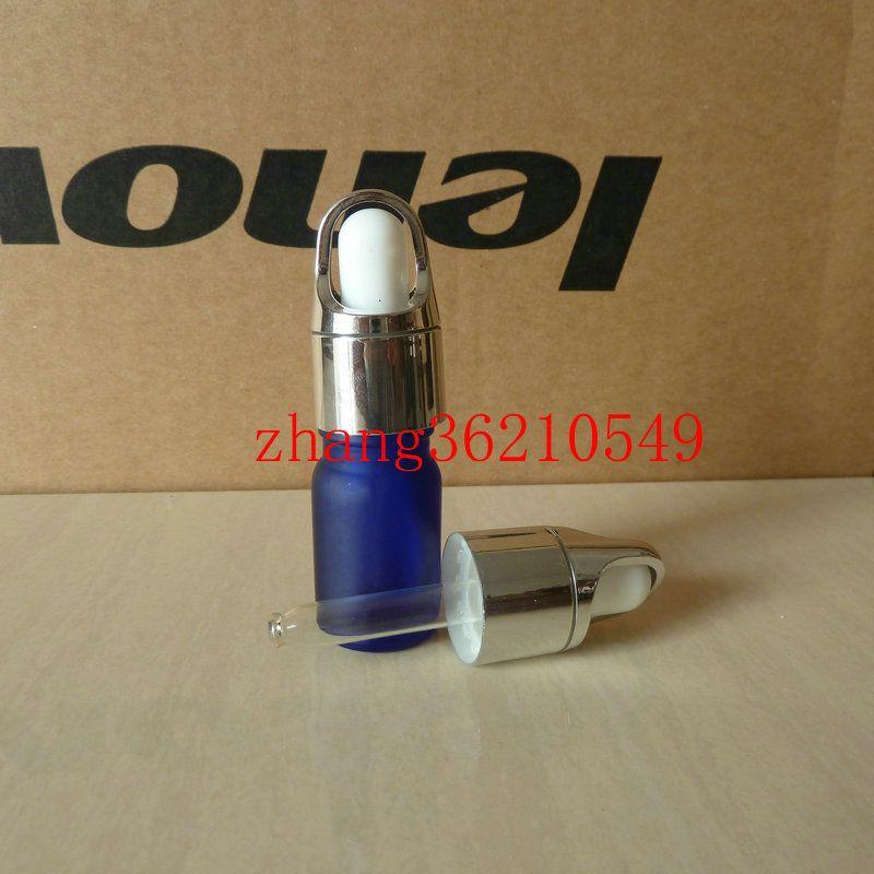 5ml 푸른 젖빛 유리 에센셜 오일 병 반짝이 은색 스포이드 캡 알루미늄 바구니와 함께. 필수 오일 컨테이너
