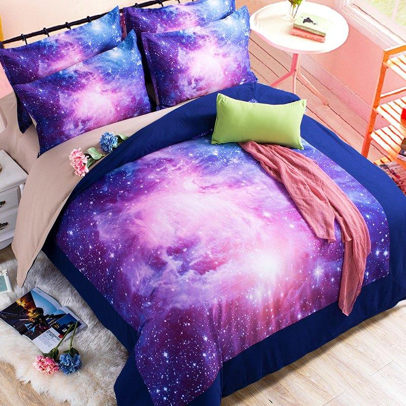 Colour Stars Hipster Galaxy 3D Bedding Sets Universe Outer Space Duvet  Cover Bed Sheet / Fitted