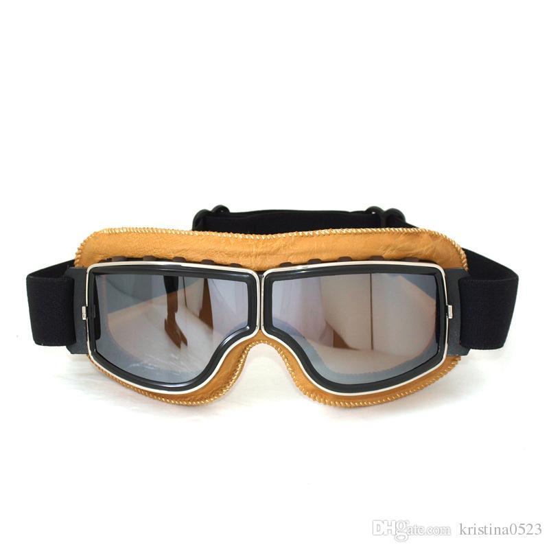 2017 высокое качество новый урожай мотоцикл очки пилот мотоцикл крейсер очки кожаный каркас прозрачные линзы очки