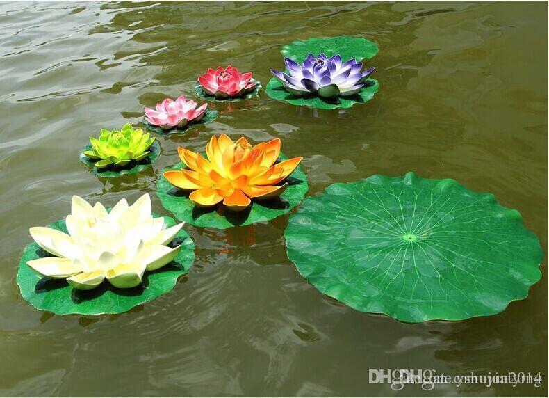Envío gratis jardín decoración del hogar Artificial flor hoja de loto material de EVA tanque de peces piscina de agua decoraciones de plantas verdes adorno artesanal