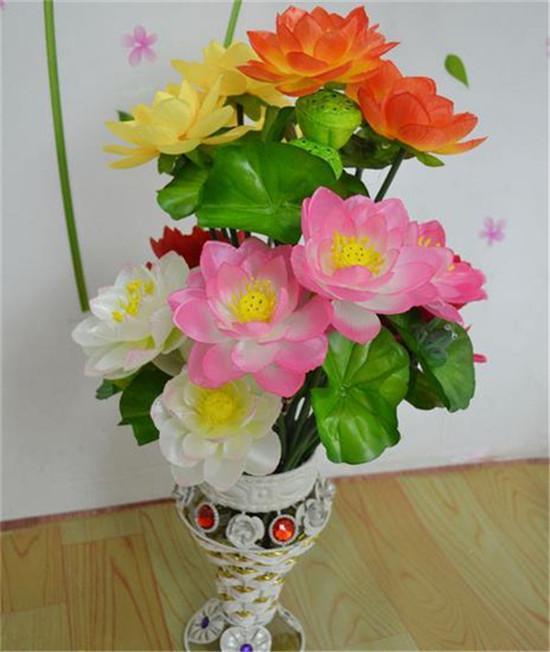 실크 Louts 꽃 로터스 32cm 길이 100pcs 인공 꽃 수련 결혼식 홈 크리스마스 장식