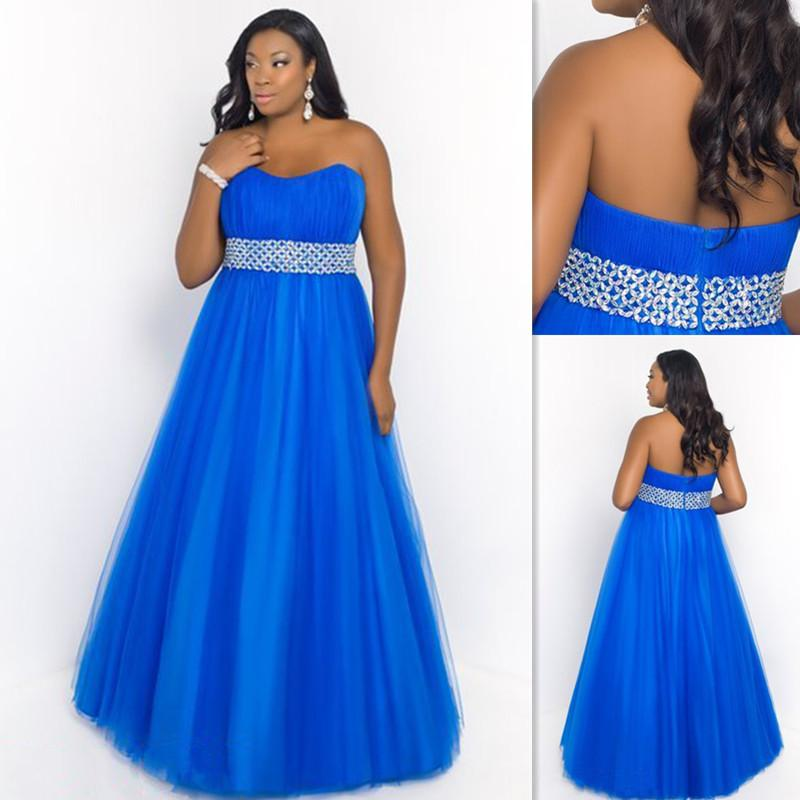 2015 Formal Blue Plus Size Evening Gowns Tulle Strapless ...