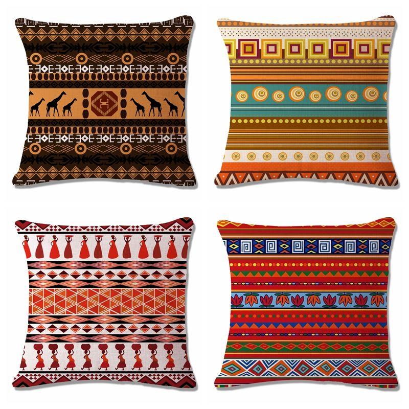 US Seller-set of 4 throw pillow case for sofa cushion covers retro boho flower