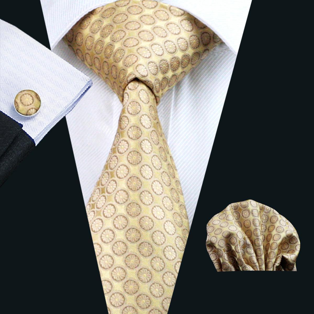 Gele Silk Tie Business Work Tie Dot Patroon Hankerchief Manchetknopen Mens Set Jacquard Geweven Classic 8.5cm Breedte N-0486