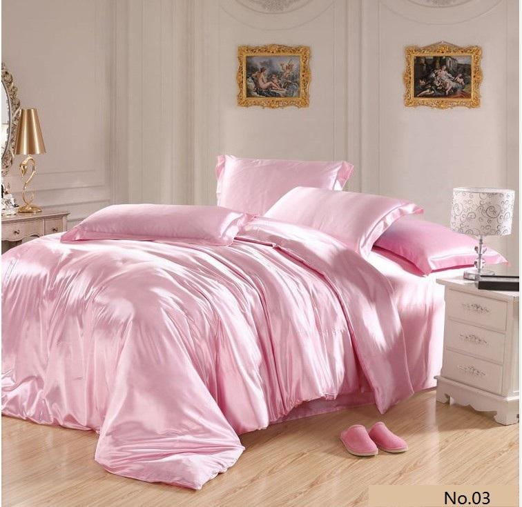Pink Silk Satin Bedding Sets California King Queen Size Quilt