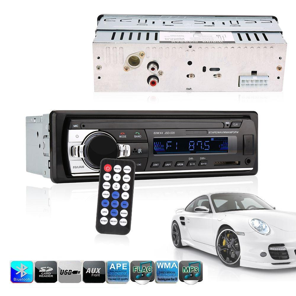 راديو السيارة بلوتوث jsd - 520 In-Dash 1 DIN 12V موالف autoradio الصوت ستيريو FM مشغلات MP3 USB / SD MMC شاحن USB