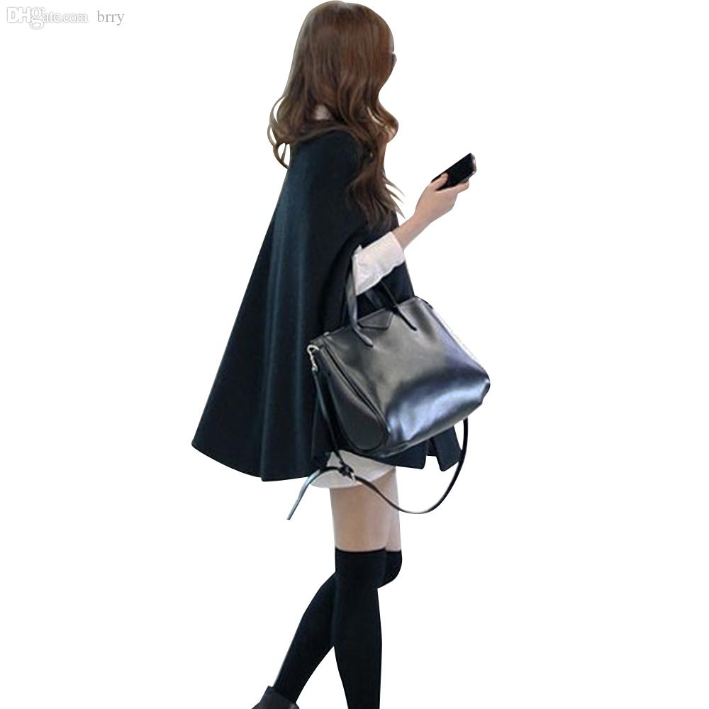 Wholesale-manteau femme 2015 Winter Casual Cape Black Batwing Poncho Lady Warm Cloak Trench Coat For Women Cardigan Loose Outwear Blusas