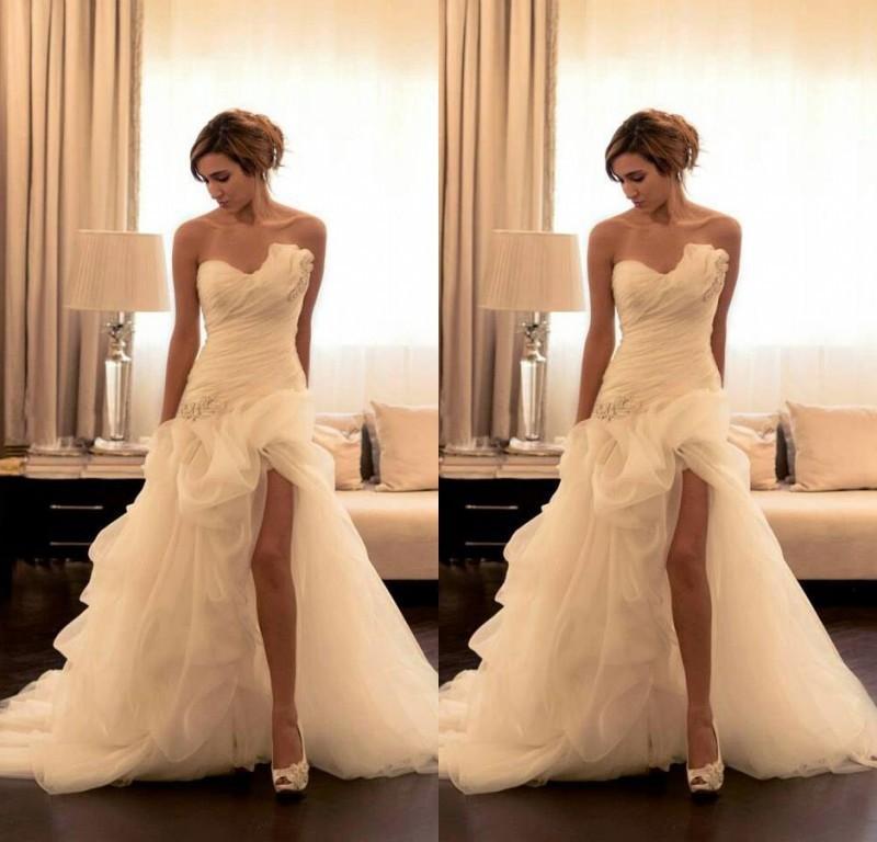 멋진 2016 웨딩 드레스 라인 Strapless 짧은 전면 긴 다시 Organza 페르시 신부의 가운 웨딩 드레스
