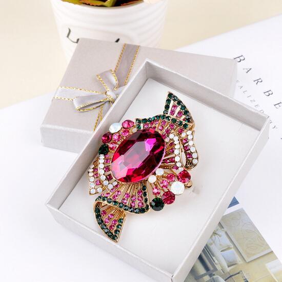 """3 """"Altın Kaplama Renkli Rhinstone Kristal Diamante Büyük Gelin Broş Hediye Iğneler"""