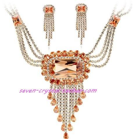 ожерелье из свадебного набора с кисточками цвета шампанского (36 + дополнительные 4 см), серьги (5,5 * 1,6 см) (myyhmz)
