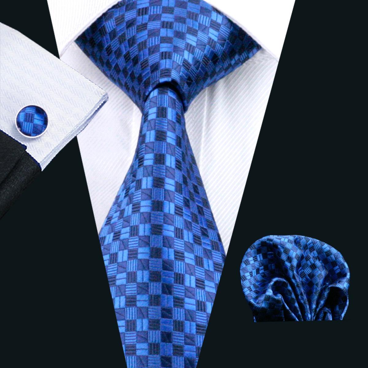 남성 블루 체크 실크 타이 Hankerchief 커프스 단추 세트 자카드 직물 Mens 넥타이 세트 비즈니스 작업 정식 회의 레저 N-0561