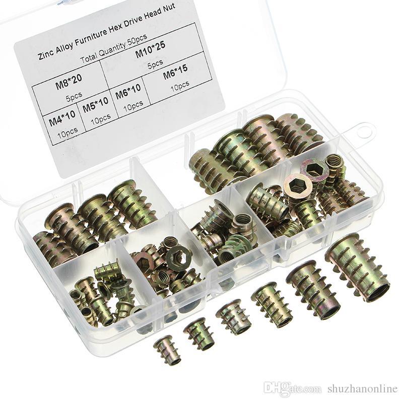 50 piezas M4 a M10 Aleación de zinc Muebles de madera Hembra hexagonal Accionamiento roscado Kit de surtido de tuercas de inserción