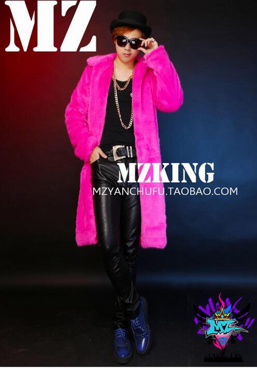 유럽의 남성 가수 한 판 나이트 클럽 패션과 활주로는 세이블 헤어 레드 롱 모피 의상을 입고 있습니다. S - 6 xl