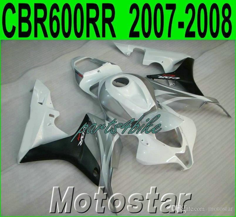 High quality fairing kit for HONDA Injection molding CBR600RR 2007 2008 silver white black CBR 600 RR F5 07 08 fairings set LY31
