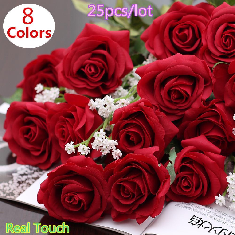 25 unids / lote Real Touch rose PU boda de seda Artificial ramo de Flores Decoraciones Caseras para el Banquete de Boda o Cumpleaños