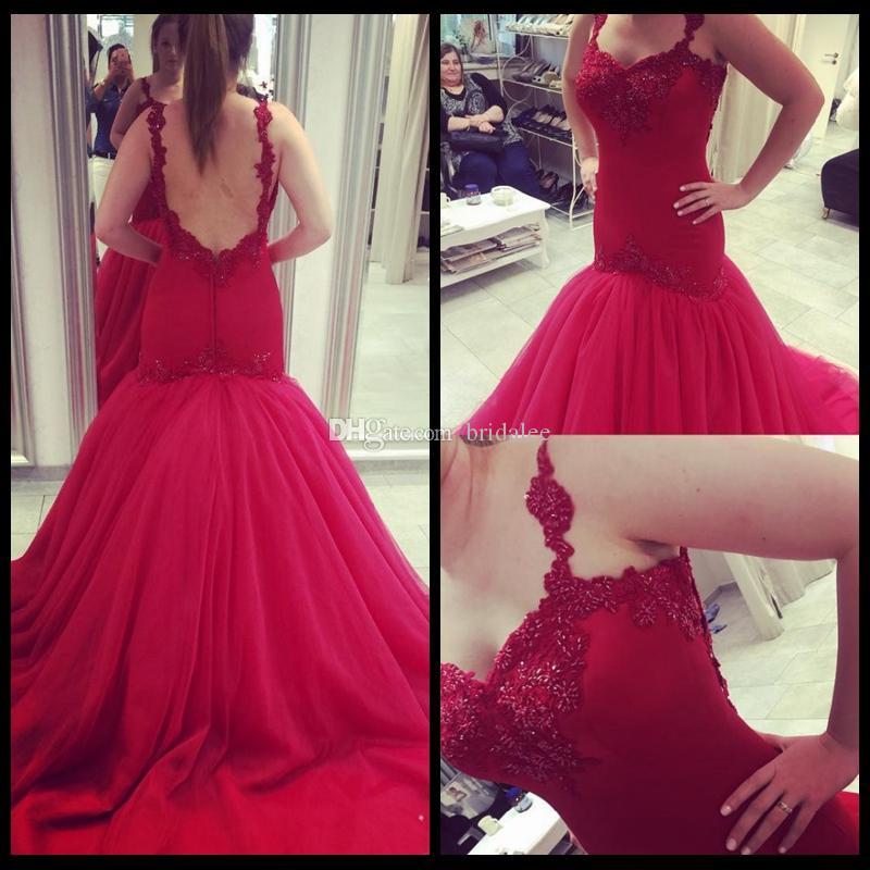 Sexy spaghetti riemen kralen rode zeemeermin prom jurken 2016 backless court trein elegante lange avond feestjurken