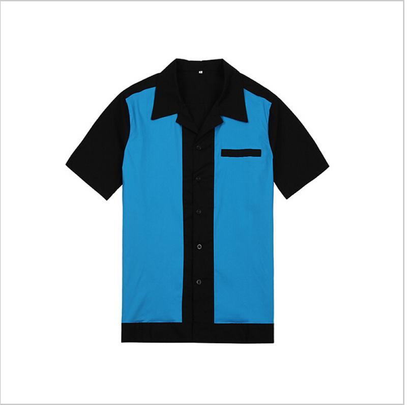 남성 로커 빌리 볼링 셔츠 50s 60s 스타일 펑크 메탈 파티 클럽웨어