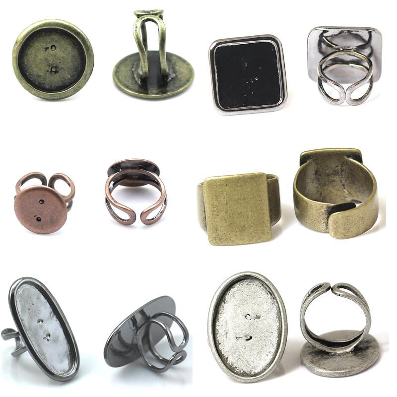 Beadsnice fashion jewelry making supplies adjustable ring base gemstone ring blank brass mix style diy rings findings ID 32245
