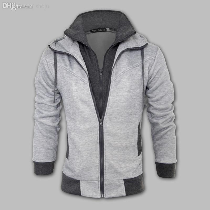 Queda-Nova roupa de homens Marca Moda, da Double Layer Zipper-Up Men jaquetas Masculino, Esportes Casual Men Fleece Hoodies