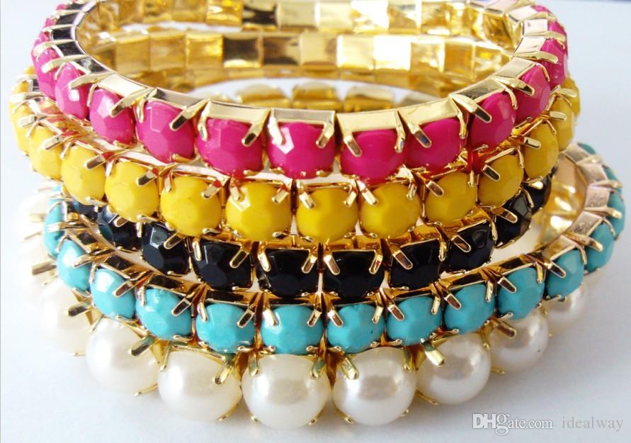 Pulseras del estiramiento de la perla de la perla de la gema colorida del múltiple de la resina