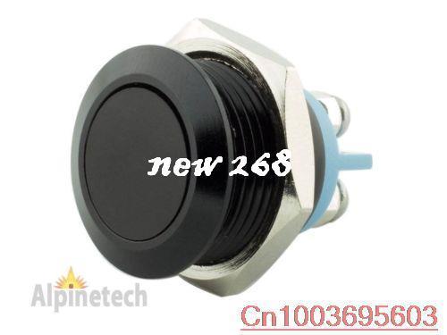 Interruptor momentâneo da tecla do metal do preto de 200pcs 16mm com parte superior lisa terminal de parafuso