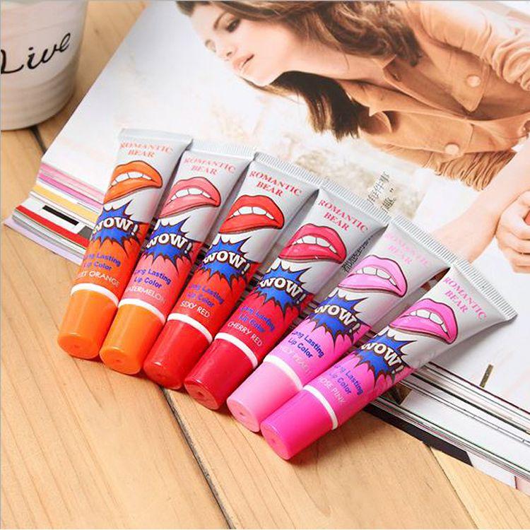 Hot sale Lip Gloss Peel-off Lasts For 24h No Stain Marine Collagen Lipstick Balm Plant Romantic Bear 6 Colors Makeup Moisturizing Lip Mask