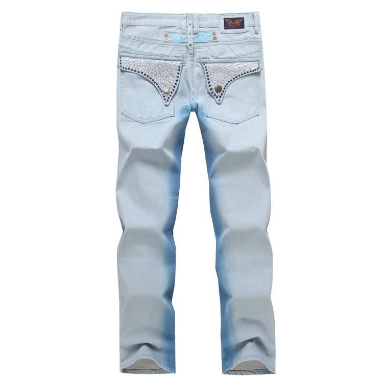 Nouvelle arrivée mens drapeau américain jeans sparkle pierres denim jeans pantalons hommes designer de mode célèbre marque déchiré biker jeans pour hommes