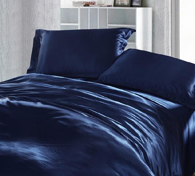 Dark Blue Bedding Set Silk Satin Super, Super King Bedding Set Blue
