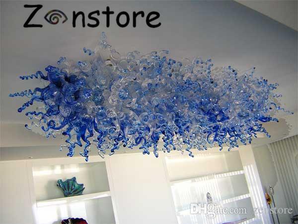 Heißer verkauf von zhongshan kristall lampe in blauer farbe deckendekor glaskunst kronleuchter led bündig decke kronleuchter leuchte