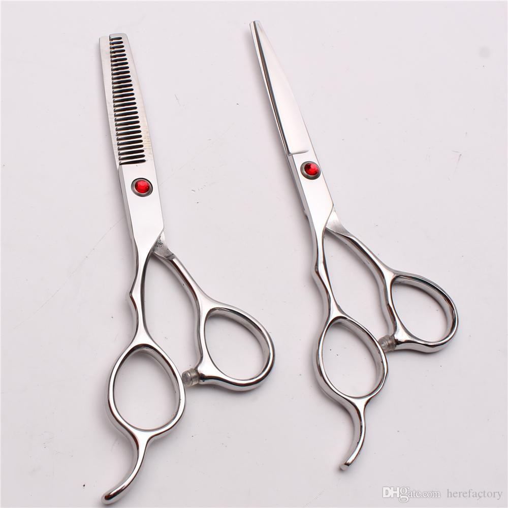"""C8000 6"""" Japan 440C Customize Logo Red Stone Professional Human Hair Scissors Barbers' Cutting Thinning Shears Left Hand Scissors Style Tool"""